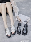 復古時尚涼鞋女2021新款百搭厚底一字帶網紅平底黑色潮羅馬鞋 polygirl
