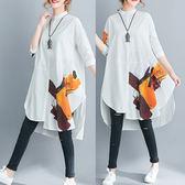洋裝 連身裙不規則A字五分袖上衣棉麻印花立領寬鬆中大尺碼女裝襯衫