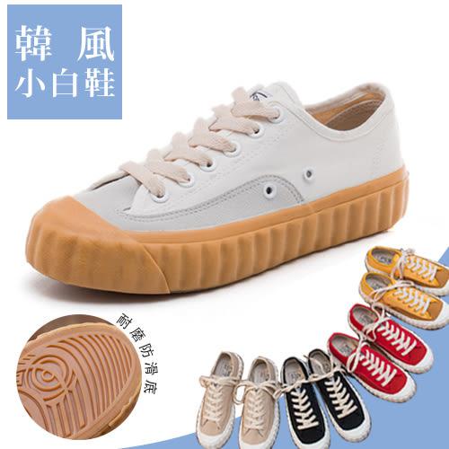 女款 工業復古風大齒輪拼接厚底綁帶 平底鞋 休閒鞋 帆布鞋 厚底鞋 餅乾鞋 59鞋廊