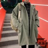 風衣外套秋裝新款大衣中長版風衣寬鬆秋季薄款男生休閒【左岸男裝】