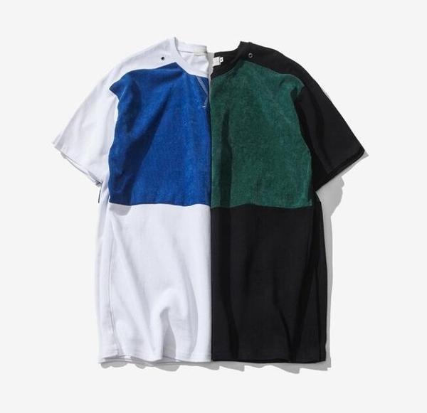 FINDSENSE品牌 男 時尚潮流 休閒 寬鬆 燈心絨拼色 撞色 短袖T恤 特