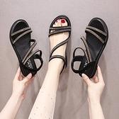 綁帶涼鞋 涼鞋女仙女風2020夏季新款水鉆綁帶坡跟厚底松糕沙灘鞋網紅羅馬鞋
