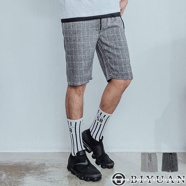 【OBIYUAN】格子短褲 韓版 抽繩 雅痞 休閒短褲 共2色【F55750】