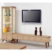 【森可家居】柏克8 尺L 櫃全組8ZX578 2 客廳高低櫃玻璃展示櫃電視櫃木紋 無印風北歐風
