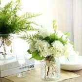 桌花小清新玻璃陶瓷花瓶田園花藝擺件客廳家居裝飾品假花仿真套裝 奇思妙想屋