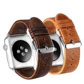 適用apple watch表帶蘋果真皮手表帶iwatch瘋馬紋表帶單圈S1S2S3【韓衣舍】