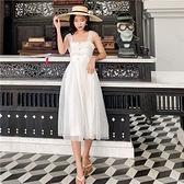 吊帶洋裝-平口蕾絲白色中長款女連身裙73ye24[巴黎精品]