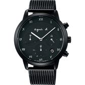 agnes b. 時尚三眼羅馬字米蘭帶計時腕錶 VR42-KGD0U