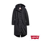 Levis 女款 長版連帽風衣外套 / 寬鬆版型腰間抽繩設計 / 黑
