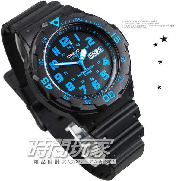 CASIO卡西歐 MRW-200H-2B 指針錶 黑面 藍色數字時刻 日期星期顯示 黑色橡膠 47mm 男錶 MRW-200H-2BVDF