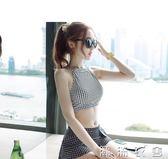 新款游泳衣 女士韓版比基尼保守高腰領少女分體溫泉泳裝  潮流衣舍
