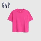 Gap女裝 碳素軟磨系列厚磅密織 基本款素色短袖T恤 735767-玫紅色