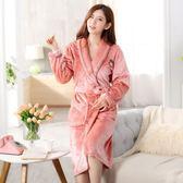 睡袍女秋冬季加厚加長款法蘭絨浴袍