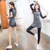 瑜伽運動套裝健身服健身房春夏韓國跑步兩件套短袖短褲