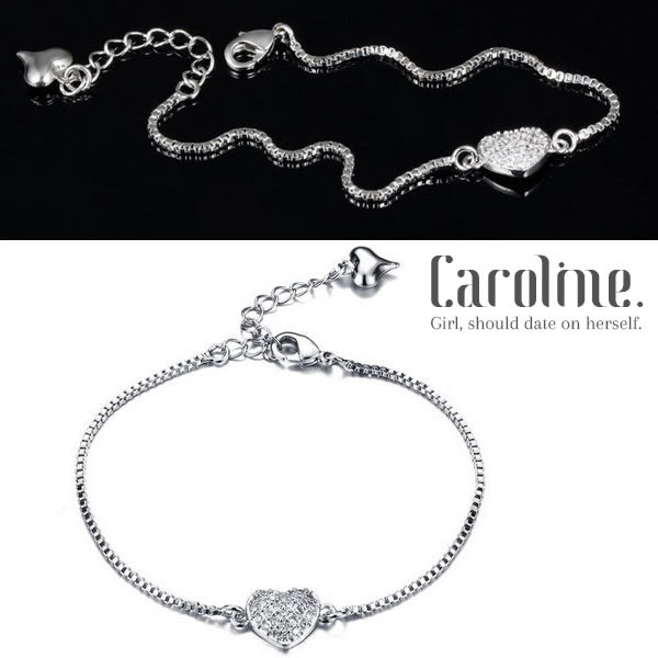 《Caroline》★典雅設計滿鑽愛心優雅時尚品味流行時尚手鍊69191