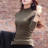秋冬季加絨加厚半高領棉打底衫女裝長袖新款韓版百搭T恤上衣