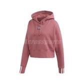 adidas 長袖T恤 R.Y.V. Hoodie 粉紅 白 女款 帽T 短版 運動休閒 【PUMP306】 EJ8539