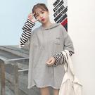 VK精品服飾 韓系假兩件拼接寬鬆連帽字母套頭長袖上衣