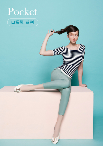 【Fair Lady】我的旅行日記-口袋系列 G型飾釦帶皮革方頭平底鞋-奶油白
