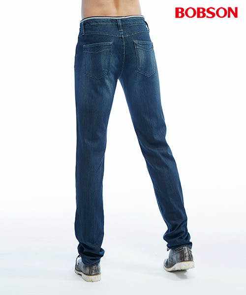 BOBSON 男款低腰綁繩彈性直筒褲(1817-52)