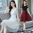 蕾絲洋裝 短袖禮服連身裙女2020夏季新款女裝修身顯瘦系帶中長款大擺裙子 8號店