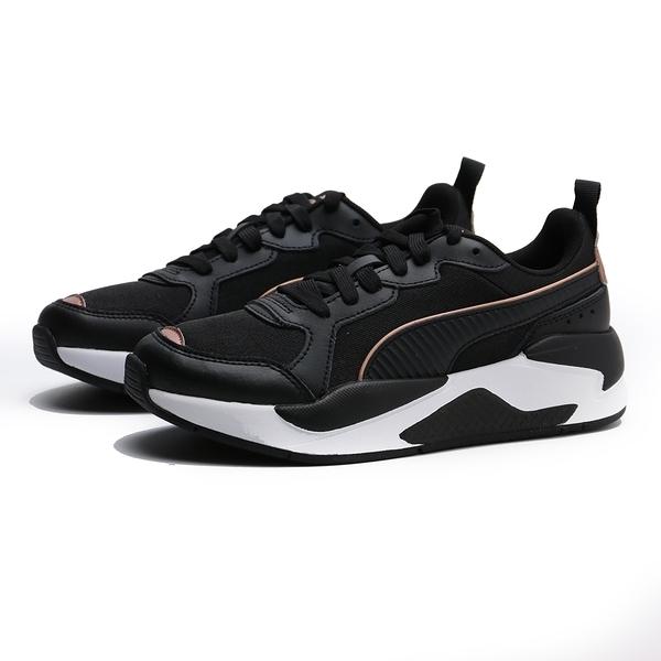 PUMA 休閒鞋 X-RAY METALLIC WNS 白 黑皮革布 玫瑰 金邊 女 (布魯克林) 37307201