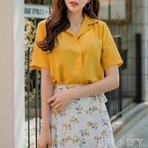 短袖襯衫女夏季純色設計感雪紡襯衣百搭西裝v領打底短款方領上衣 蘿莉小腳丫