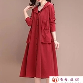 風衣女 風衣外套女春秋款中長版氣質休閒寬鬆黑紅色新款大碼外套保暖【快速出貨】