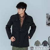 【OBIYUAN】鋪棉 保暖軍裝外套 立領 工裝 中長版 防風外套 風衣 共2色【X9969】