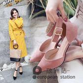 涼鞋/尖頭細跟中跟高跟鞋5CM一字扣包頭貓跟低跟單鞋「歐洲站」
