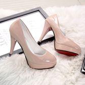 全館83折 高跟鞋 春秋季圓頭鞋新款女鞋工作鞋防水臺白色皮鞋細跟10cm單鞋潮
