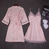 女士睡袍兩件套春夏秋吊帶睡裙