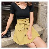套裝 短袖 薄 針織衫 雙排釦 壓褶 短裙 兩件套 套裝【NDF6657】 icoca  06/14