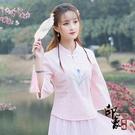 復古中國風唐裝 改良式漢服旗袍上衣 棉麻七分袖襯衫女 萬聖節鉅惠