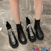 馬丁靴 馬丁靴女2021秋冬新款加絨時尚百搭機車靴網紅潮低跟厚底短靴 寶貝計畫