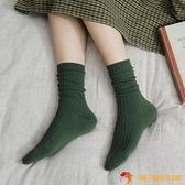 素色豎條中筒襪彩色堆堆襪女秋冬長襪【小獅子】