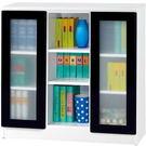 【藝匠】3尺雙玻璃門鏡面PU書櫃 收納櫃 書櫃 書房 家具 置物櫃 櫃子 收藏 組合櫃 (黑)