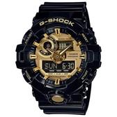 CASIO G-SHOCK 3D立體整點刻度磨砂效果雙顯錶-黑X金(GA-710GB-1A)