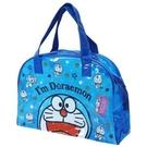 小禮堂 哆啦A夢 透明海灘袋 波士頓包 防水提袋 泳具袋 (深藍 大臉) 4548387-39048