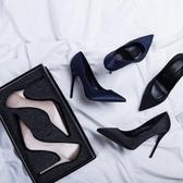 高跟鞋女黑色禮儀職業ol工作鞋尖頭細跟綢緞新款春秋單鞋