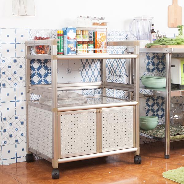 輕量鋁合金收納櫃[雙門2尺]【JL精品工坊】鋁櫃 廚房櫃 收納櫃 電器架 活動櫃 鋁合金櫃