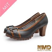 【Normady 諾曼地】顯瘦撞色時尚真皮粗跟高跟鞋-MIT手工鞋(優雅灰)