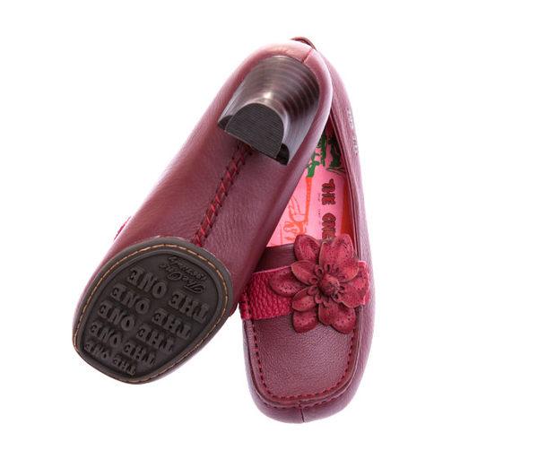 摔紋雅緻款/按摩腳墊/酒杯跟--THE ONE 氣墊跟鞋 (全牛皮)-T95030 酒紅