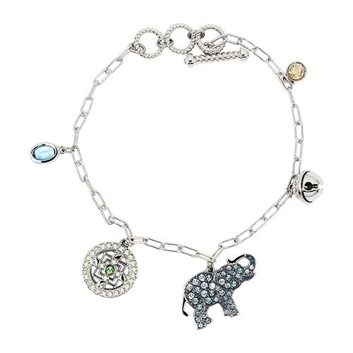 璀璨水晶大象墜飾銀色手鍊手環