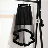 長裙 前短後長不規則下擺裙子燕尾裙黑色紗裙中長款半身裙