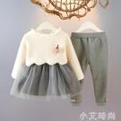 女寶寶套裝加絨連衣裙兩件套女童冬裝洋氣網紅嬰兒秋冬裝小童新款 小艾新品