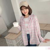 《AB9055-》高含棉格紋排釦長袖襯衫上衣 OB嚴選