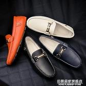 春秋真皮休閒皮鞋男士豆豆鞋潮流韓版2021新款百搭英倫個性懶人鞋 名購新品