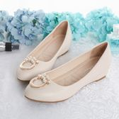 平底鞋女2018新款豆豆鞋子女中跟圓頭淺口內增高淑女坡跟春季單鞋