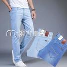 牛仔褲男淺色磨白牛仔褲男士直筒寬鬆春夏超薄淺藍色休閒水洗白色薄款長褲 快速出貨